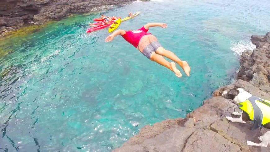 Diving from cliff in Keauhou Bay!