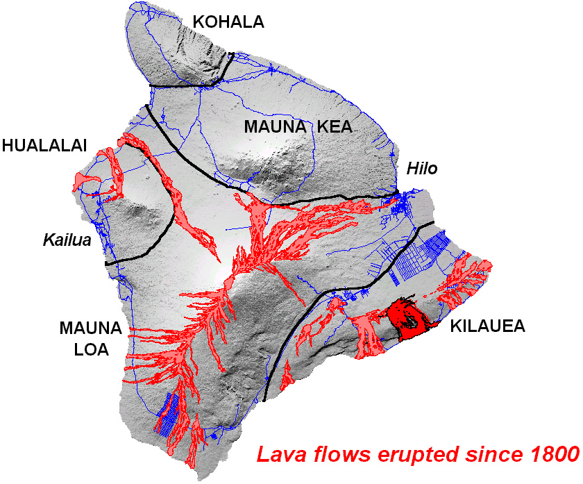 Hawaii Island Map of Lava History