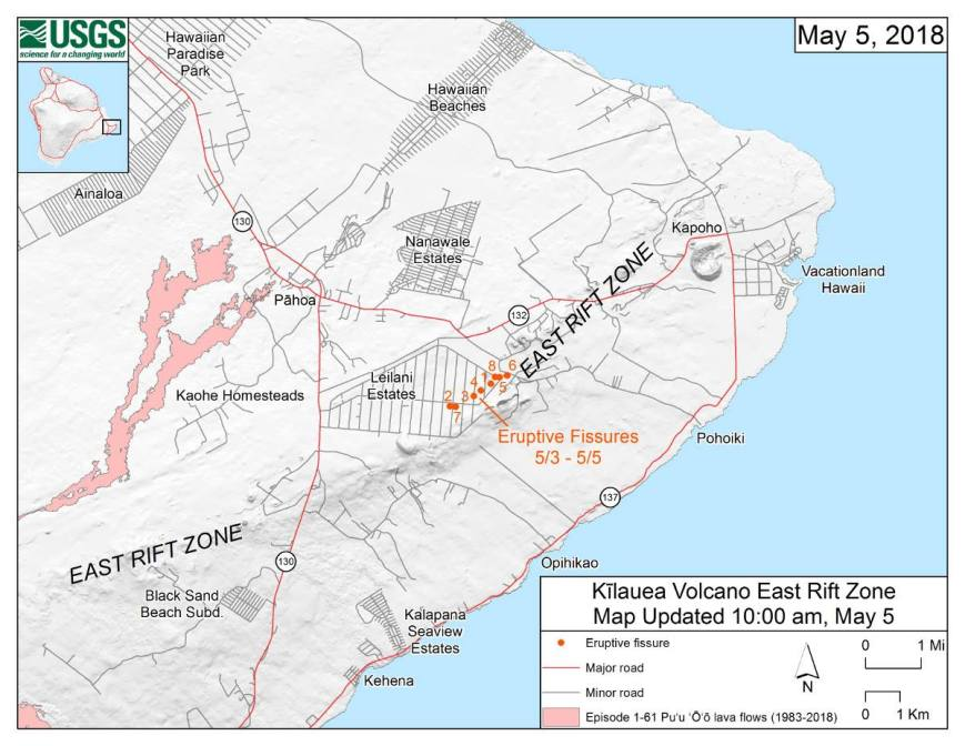 Hawaii Island Map of East Rift Zone